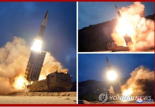 This composite photo, released by the North's Korean Central News Agency on Aug. 11, 2019, shows the test-firing of missiles, one day after their launch from the eastern North Korean coastal city of Hamhung (Yonhap)