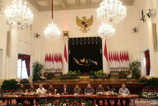 President Jokowi during the media conference (Antara)
