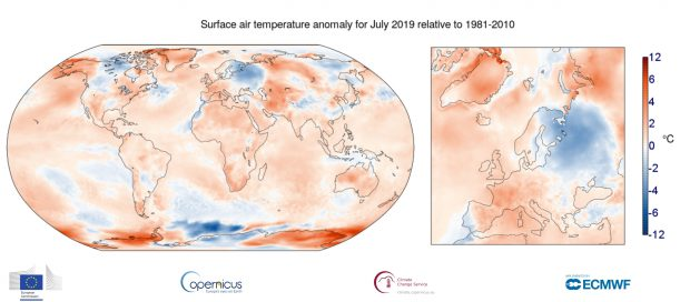 Surface temperature anomaly for July 2019 - Copernicus