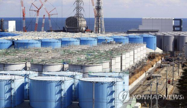 This photo, provided by Kyodo news agency on March 8, 2019, shows the storage tanks keeping radioactive water from the Fukushima meltdown, in Fukushima, Japan (Yonhap)
