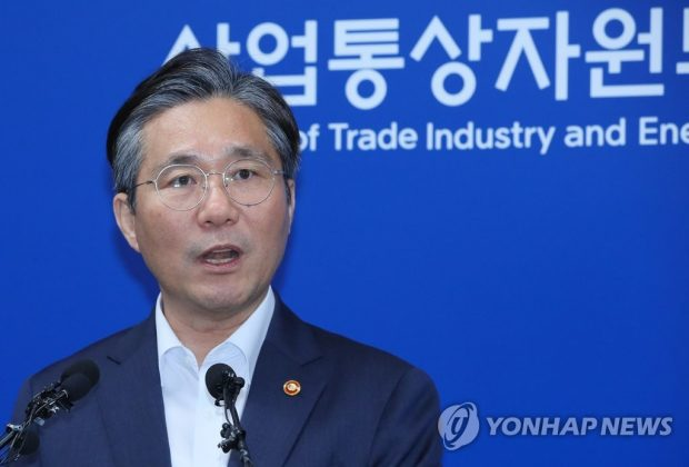 This photo, taken on Aug. 12, 2019, shows Trade Minister Sung Yun-mo speaking at a press briefing in the administrative city of Sejong over South Korea's move to remove Japan from its list of trusted trading partners. (Yonhap)