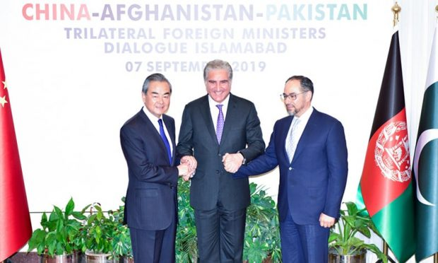 The foreign ministers of China, Afghanistan and Pakistan at their trilateral dialogue