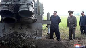 North Korean leader Kim Jong Un attends the testing of a super-large multiple rocket launcher in North Korea. Photo released on September 10, 2019 by KCNA