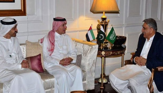 Pakistan's Army Chief with Saudi, UAE Foreign Ministers