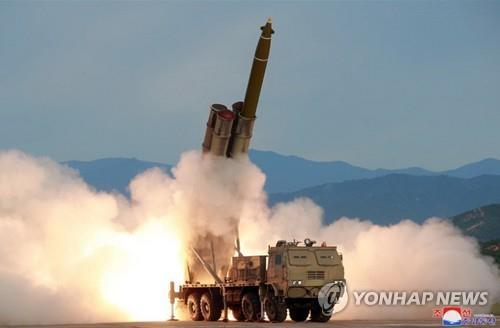 """This photo carried by the Korean Central News Agency on Aug. 25, 2019, shows a """"new super-large"""" multiple rocket launch system tested the previous day. (Yonhap)"""