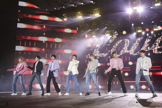 """This image of BTS during the """"Love Yourself: Speak Yourself"""" tour finale concert at Seoul Olympic Stadium on Oct. 29, 2019, is provided by Big Hit Entertainment. (Yonhap)"""