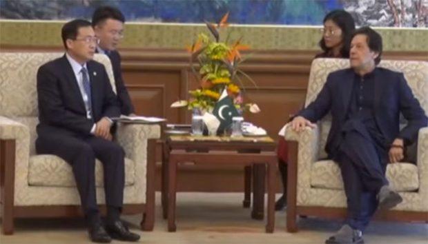 China Gezhouba Group Chairman Lyu Zexiang meets Prime Minister Imran Khan in Beijing on Tuesday