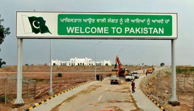 A gate erected at Kartarpur Corridor to welcome Sikh pilgrims