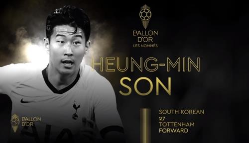 This image captured from France Foobtall magazine's website on Oct. 22, 2019, shows South Korean player Son Heung-min as one of 30 nominees for the annual Ballon d'Or Award. (Yonhap)