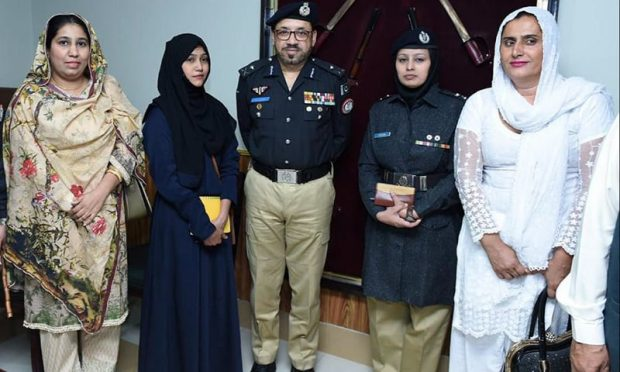 A delegation of transgender leaders with Sindh Police Chief Syed Kaleem Imam in April