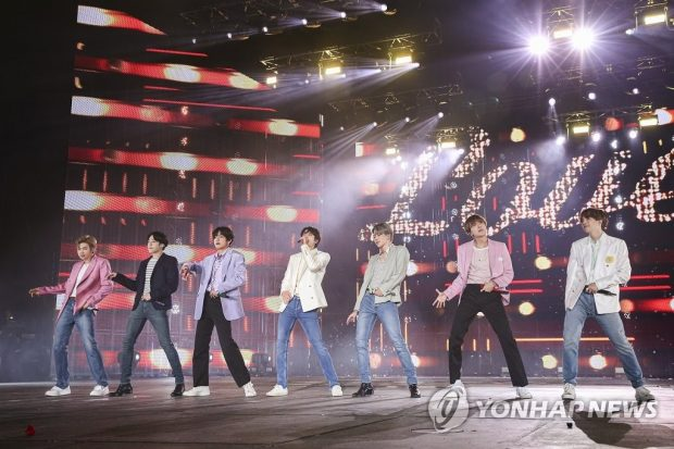 This photo, released on Oct. 29, 2019, by Big Hit Entertainment, shows K-pop band BTS performing in Seoul over the weekend. (Yonhap)