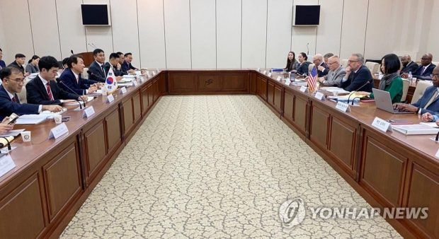 South Korean and U.S. officials hold negotiations over the sharing of the cost for stationing the 28,500-strong U.S. Forces Korea in Seoul on Nov. 18, 2019, in this photo provided by Seoul's foreign ministry. (Yonhap)
