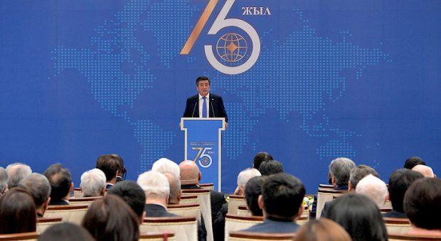 President Sooronbay Jeenbekov at the forum (Kabar)