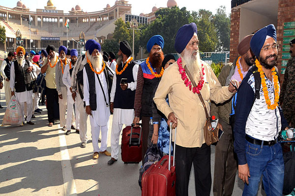Indian Sikh pilgrims who arrived in Pakistan on Nov. 5 through Wagha Border to attend Kartarpur Corridor opening ceremony