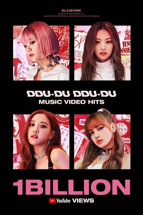 "This image provided by YG Entertainment on Nov. 11, 2019, shows music video of BLACKPINK's hit song ""Ddu-Du Ddu-Du"" exceeding 1 billion YouTube views. (Yonhap)"