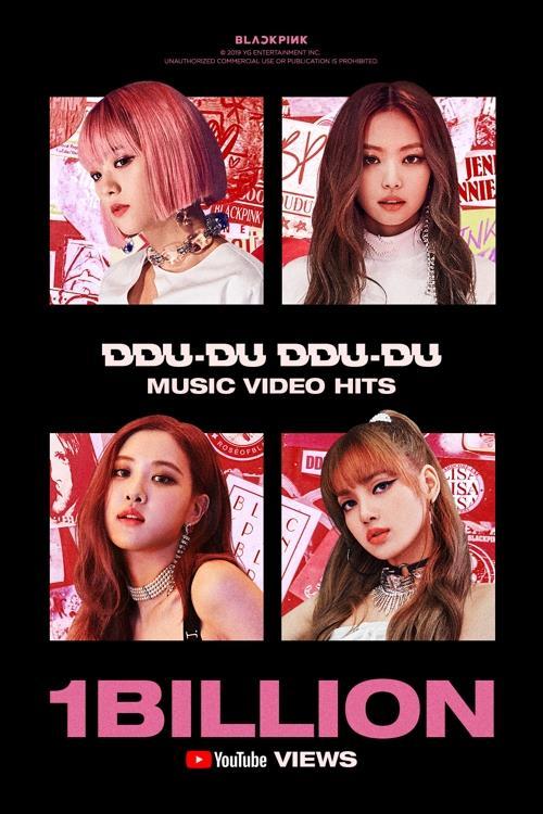 "This image provided by YG Entertainment on Nov. 11, 2019, shows music video of BLACKPINK's hit song ""Ddu-Du Ddu-Du"" exceeding 1 billion YouTube views. (Yonhap)"