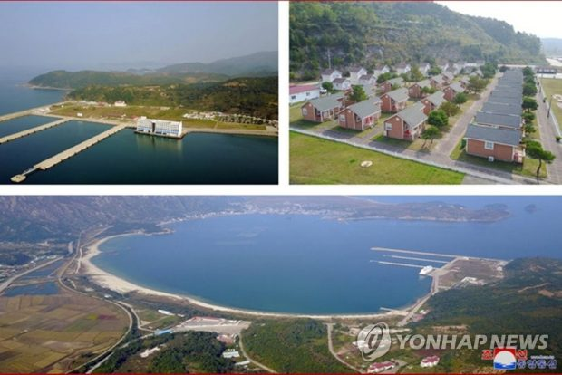 This combined image, released by the Korean Central News Agency (KCNA) on Oct. 23, 2019, shows the Mount Kumgang resort on the east coast, which North Korean leader Kim Jong-un recently inspected. Kim ordered the removal of all South Korea-built facilities at the once jointly run tourist spot, according to the KCNA (Yonhap)
