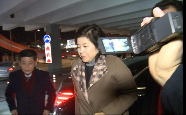 North Korean First Vice Foreign Minister Choe Son-hui (C) arrives at Moscow's Sheremetyevo International Airport on Nov. 23, 2019, to return home following a six-day trip to Russia. (Yonhap)
