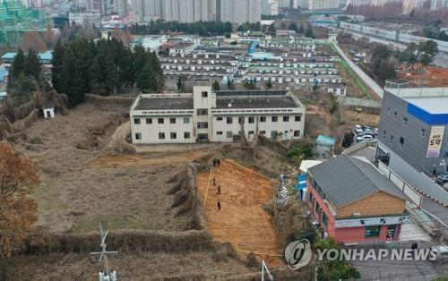 This photo, taken Dec. 20, 2019, shows the site of a former prison in the southwestern city of Gwangju where the remains of about 40 people have been discovered. (Yonhap)