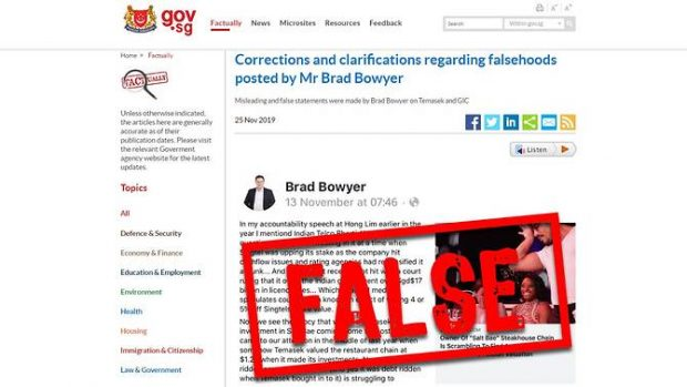A screenshot of the Factually post citing the corrections and clarifications regarding falsehoods posted by Mr Brad Bowyer on Temasek and GIC on his Facebook account. (www.gov.sg)