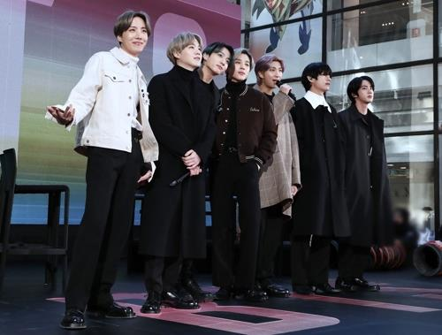 "This image, provided by Big Hit Entertainment, shows BTS during its appearance on American TV show, ""Today Show,"" on Feb. 21, 2020. (Yonhap)"