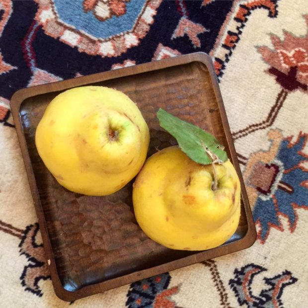 Iranian quince is laid on Korean wooden tray and all laid on Iranian carpet (Pooneh )