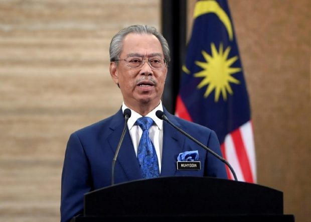 Prime Minister Muhyiddin Yassin announcing the stiumilus package