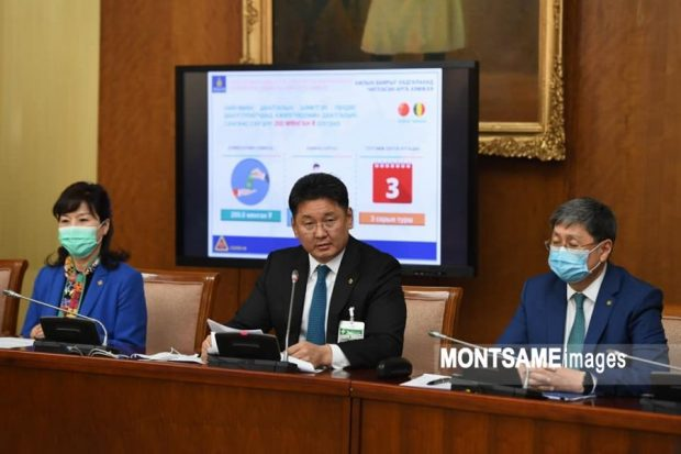 Mongolia's Prime Minister announcing the MNT 5.1 trillion package (Montsame)