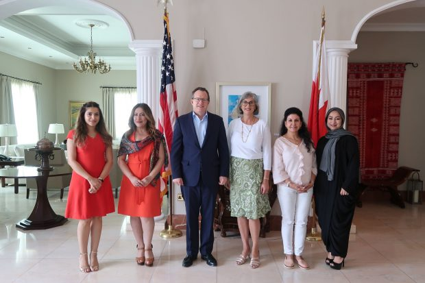 U.S. Ambassador to Bahrain Justin Siberell with Mrs. Arnavaz Siberell, and Bahraini women Artists who lent their artwork during the holy month of Ramadan and to highlight the friendship between the United States and Bahrain (U.S. embassy Twitter)