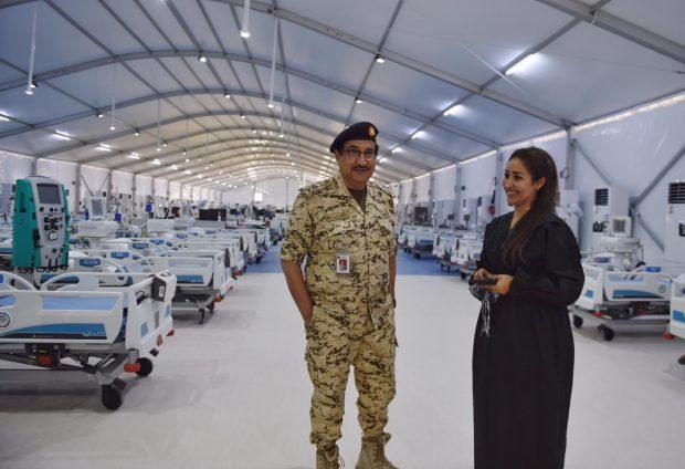 Reporter Rasha Al Ebrahim conducting an interview