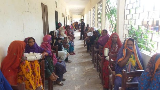 Women gathered to receive cash grant
