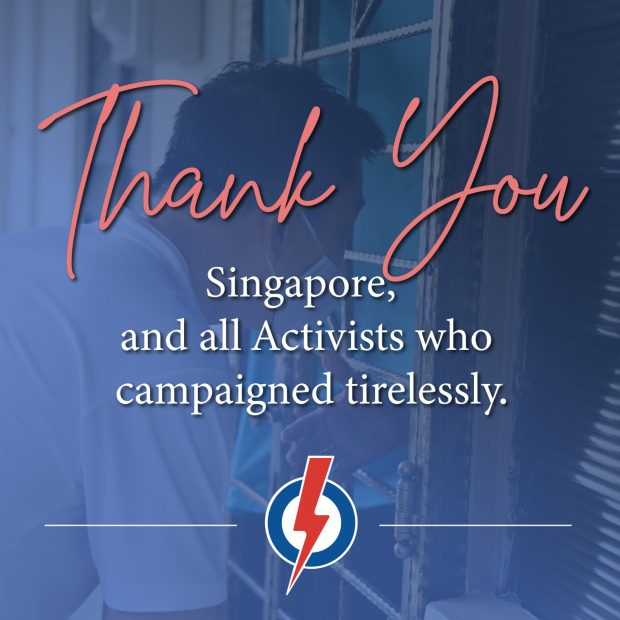 PAP: Thank you Singapore for your continued support, and for giving us another opportunity to serve you. (Twitter)