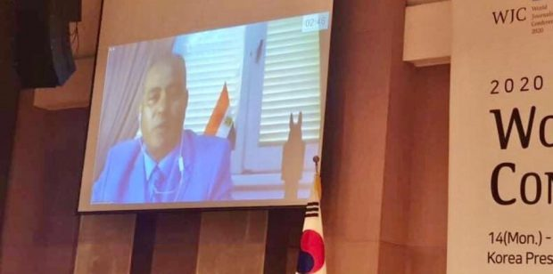 Ashraf addressing the participants in WJC 2020