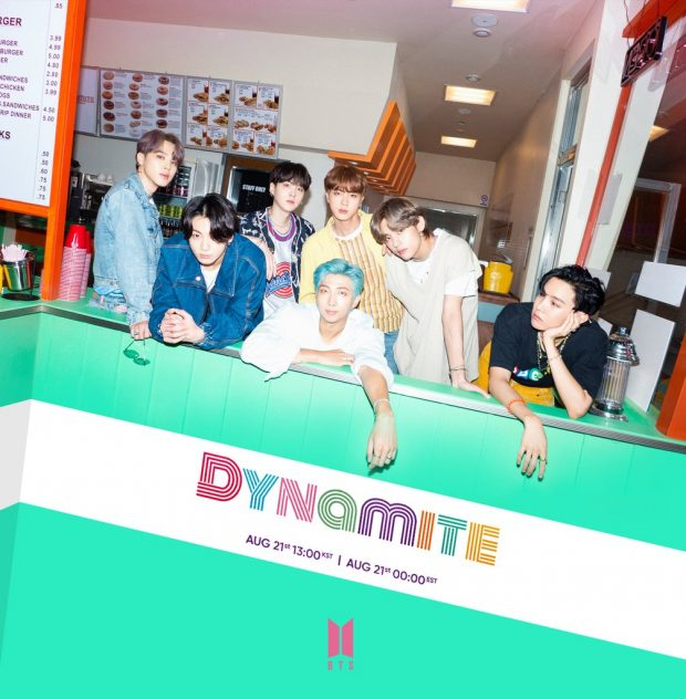 "This photo, released by Big Hit Entertainment via social media on Aug. 19, 2020, shows a teaser for global K-pop band BTS' new song ""Dynamite."" (Yonhap)"