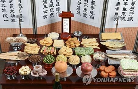 """A table set up for """"charye,"""" a traditional ritual of giving thanks to ancestors. (Yonhap)"""