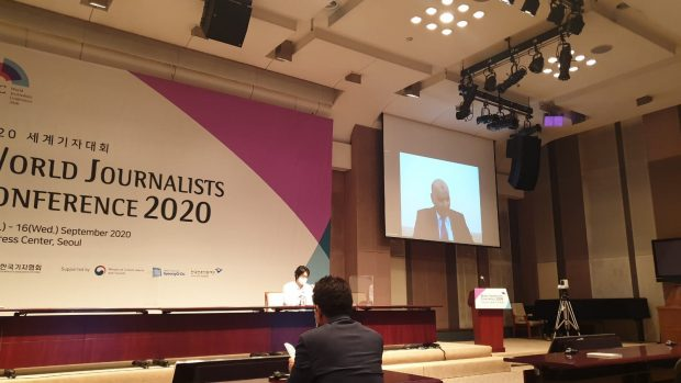Habib Toumi delivering his speech at WJC 2020 (Picture by Sang-ki Lee)