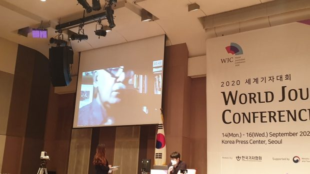 Nasir arguing for the reunification of Korea at the WOrld Journalists Conference on September 16 (Picture by Sang-ki Lee)