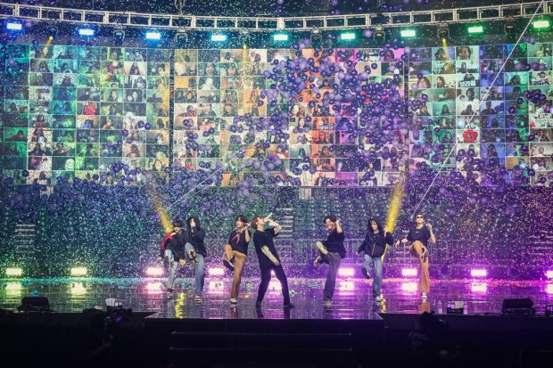 This photo, provided by Big Hit Entertainment, shows BTS performing during its online concert (Yonhap)