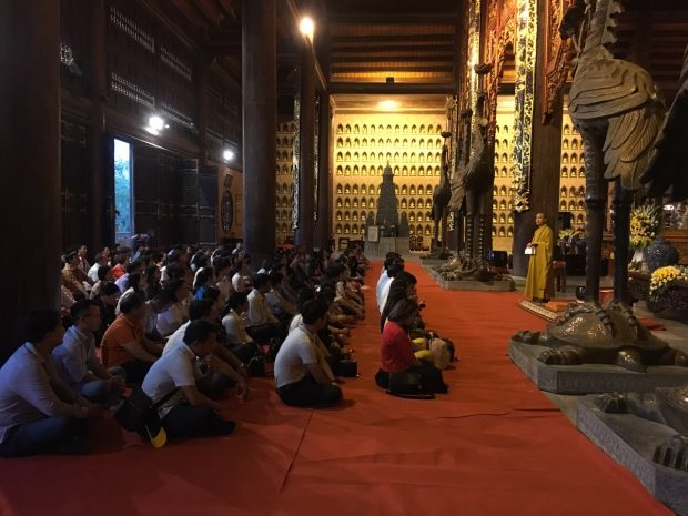 Buddhists attend a Dharma Talks at Bai Dinh Pagoda in Ninh Binh Province