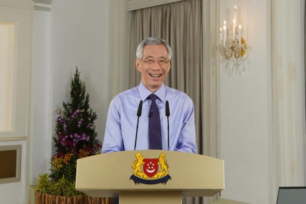 A beaming Prime Minister, Mr Lee Hsien Loon