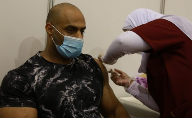 A Bahraini man getting vaccinated. Bahrain has witnessed a remarkable turnout for COVID-19 vaccine (BNA)