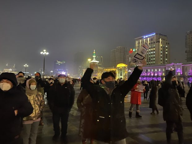 Protests amid freezing temperatures (Twitter)