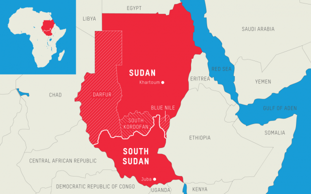 Map of Sudan and South Sudan (https://www.oxfamamerica.org)
