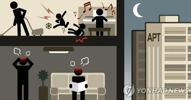 This illustration shows an example of a noise dispute between two families. (Yonhap)