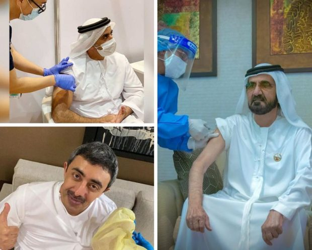Senior UAE officials receiving the COVID-19 vaccine. Clockwise from right: Sheikh Mohammed bin Rashid Al Maktoum, Vice-President and Prime Minister of the UAE and Ruler of Dubai; Sheikh Abdullah bin Zayed Al-Nahyan, UAE Minister of Foreign Affairs and International Cooperation; and Lt. Gen. Sheikh Saif Bin Zayed Al Nahyan, Deputy Prime Minister and Minister of the Interior (Twitter)