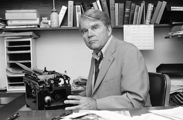 """Andy Rooney at his desk in 1978, his first year as a commentator on """"60 Minutes."""".Credit...Carlos Rene Perez/Associated Press"""