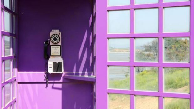 Call me: The purple phone booth is a popular place for photo ops. (Shinan County Office)