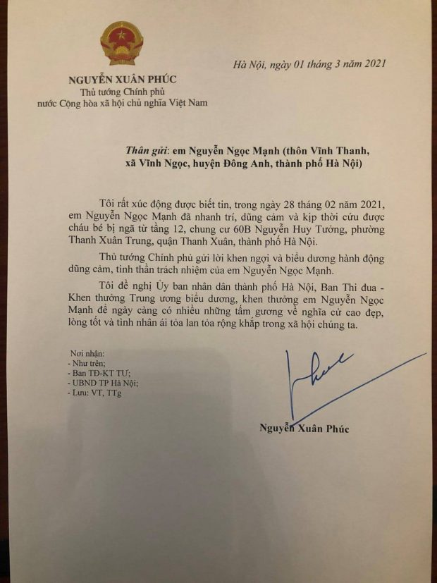 Letter of thanks and appreciation from Prime Minister Nguyen Xuan Phuc to Nguyen Ngoc Manh (Vietnam)